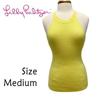 Lilly Pulitzer Yellow Sleeveless Sweater Size Med